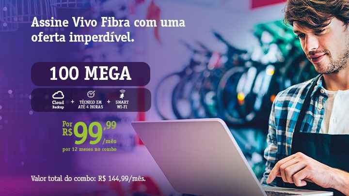 Vivo Internet Fibra Vivo Empresas 100 Mega - Cloud Backup - Smart Wi-fi - Ecotelecom